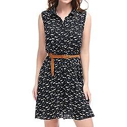 Allegra K Ladies Cat Pattern Elastic Waist Belted Shirt Dresses Dark Blue M