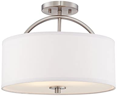 "Brushed Nickel Semi Flush Ceiling Light: Halsted Brushed Nickel Semi-Flush 15"" Wide Ceiling Light,Lighting"