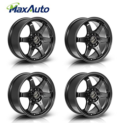 MaxAuto 4 pcs 16x7, 5X100 / 5x114.3, 73.1, 40, Black Rims Alloy Wheels compatible w/ 1986-2017 Toyota Camry 1998-2002 2005-2011 2014 2017 Honda Accord 2003-2017 Toyota Corolla 2004-2017 Honda ()