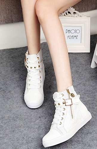 autumn buckle PU fashion shoes women belt for canvas winter surface shoes spring White high sneakers running New shoes rivets leisure FvBq857gZ