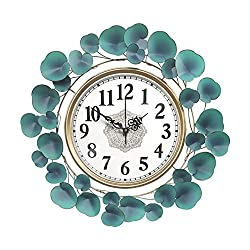 Decorative Metal Leaf Wall Clock, American Pastoral 3D Flower Accents Hanging Art Clock Mute Non Ticking for Living Room & Office,S