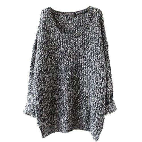 Pull Sweater Femme Gris long Aelegant Casual Tops Hiver Tricot Automne Manches Longues Mi qTwtqd