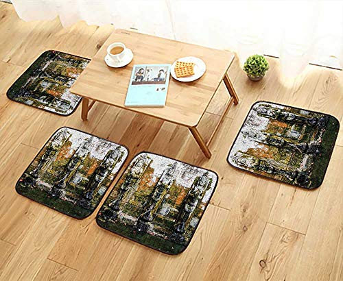 Leighhome Universal Chair Cushions Fountain in Ancient Temple in Bali Asia Tropics Landmark Travel Destinations Photo Green Personalized Durable W15.5 x L15.5/4PCS Set