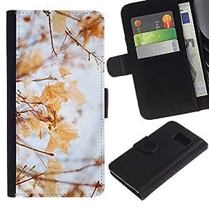 EuroTech - Samsung Galaxy S6 SM-G920 - Winter Autumn Fall Leaves Maple Yellow - Cuero PU Delgado caso Billetera cubierta Shell Armor Funda Case Cover Wallet Credit Card
