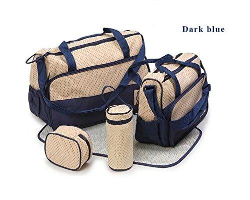 grandey 5en 1multifunción de gran capacidad cambiador de pañales para bebé Pad Viaje momia bolsa bolsa de saco de bolso gran capacidad multifunción portátil botella de Messenger embarazadas Madre de azul oscuro