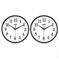 "HIPPIH 10"" Silent Quartz Decorative Wall Clock Non-ticking Digital(Black) …"