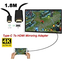 Aurorax Cable Adaptor Type-C To HDMI Mirroring Adapter 4K Lightning Game Accessories For iPhone Samsung Galaxy , LeEco, LG , HUAWEI (Black)