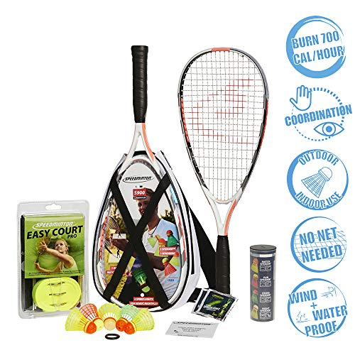 Speedminton S900 Set - Original Speed   Badminton/crossminton Professional Set with 2 Carbon Rackets incl. 5 Speeder, Playing Field, Bag