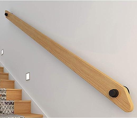 Pasamanos para escaleras de madera Barandilla montada en la pared Barandilla de mano, barra de agarre de pino sólida industrial con base de hierro Kit de soportes, soportes de barandilla para escalera:
