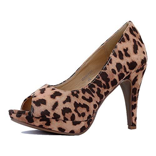 Toe Leopard Pumps Peep - Guilty Heart - Wildly 2 Leopard Suede, 6