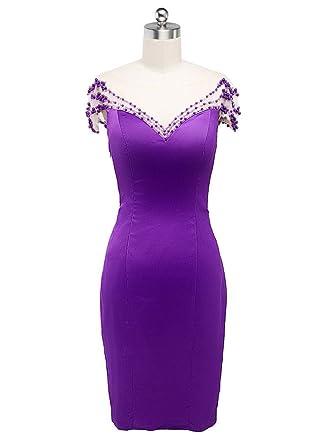 Beauty-Emily Wedding Dresses Purple Elegant Beaded Fashion Body On Dress Prom Party Dress Purple