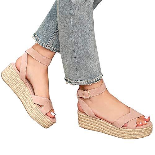 (Syktkmx Womens Strappy Flatform Espadrille Sandals Summer Slingback Platform Ankle Strap Sandals D-Pink)