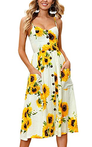 Halife Sunflower Sundresses for Women Casual Summer Beach Spaghetti Strap Backless Midi Dress Yellow L
