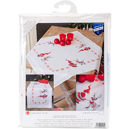 (Vervaco Christmas Elves Table Runner Stamped Cross Stitch Kit, 16