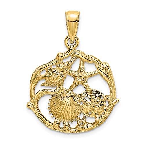 FB Jewels 14K Yellow Gold Shell Cluster In Circle Cut Out and 2D Pendant
