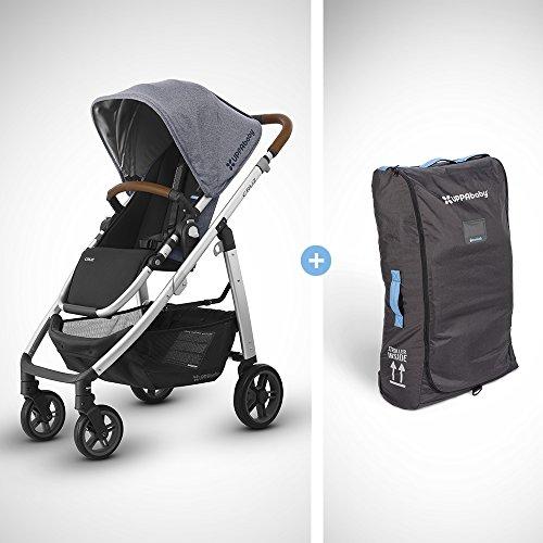2018 UPPABaby CRUZ Stroller - Gregory (Blue Melange/Silver/Saddle Leather) + CRUZ Travel Bag