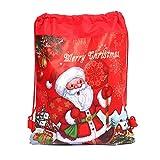 YUNAWU Drawstring Bags Christmas Santa Claus Cinch Sack Kids Favors Baby Backpack Gifts