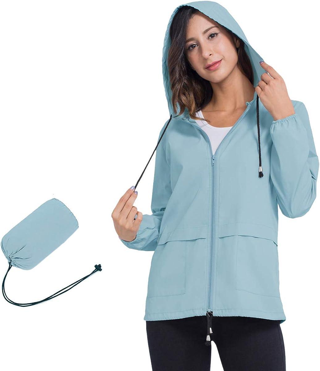 JTANIB Women's Lightweight Packable Waterproof Hooded Rain Jacket S-XXL