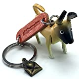 AKITA 3D Animal Style So Cute Handcraft Leather Keychain Keyring Made in THAILAND