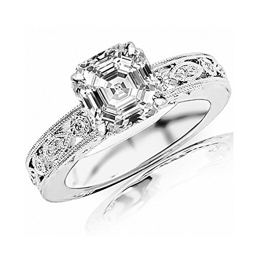 1 Carat 14K White Gold Antique/Vintage Bezel Set Designer Diamond Engagement Ring With Milgrain Asscher Shape (0.75 Ct G Color VS2 Clarity Center Stone) (Asscher Vs2 Ring)