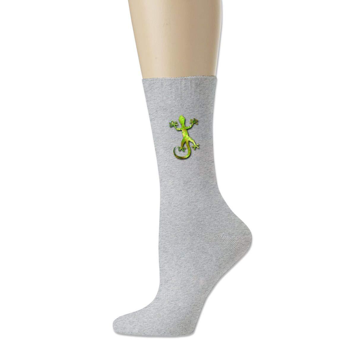 Green Yellow Lizard Crew Sock Cotton Funny Solid Socks Women