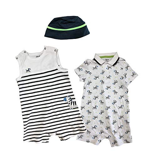 (Little Me 3 Piece Baby Outfits and Hat Set (White, 3 Months))