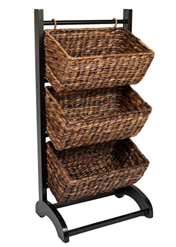 Three Tier Natural - BIRDROCK HOME 3 Tier Abaca Storage Cubby (Espresso) | 3 Baskets Made of Durable Seagrass Fiber | Solid Wood Frame | Child Pet Dog Toy Food Storage Organizer Shelf | Kitchen Vertical Rack Unit Stand