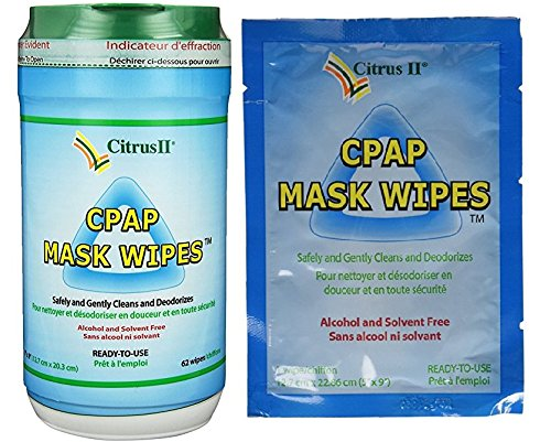 Citrus II Cpap Mask Wipes 62 Count Canister + 12 Individually Wrapped Travel Wipes by Beaumont