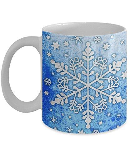 Snowflake Winter Snow Wonderland Mug 11oz - White Christmas Snowy Blizzard Xmas Ceramic Coffee Cup (Christmas Snowflake Mug)