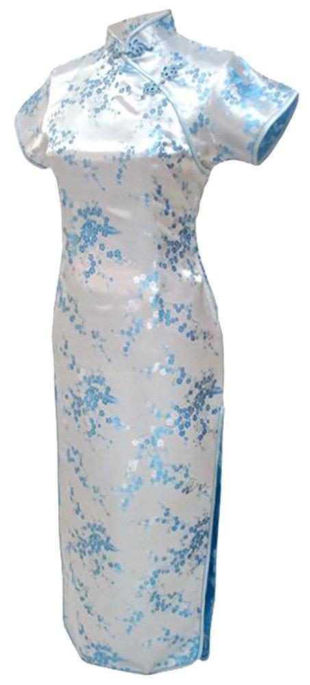 7Fairy Sexy Women's Light Blue Floral Long Chinese Dress Cheongsam Size 6 US