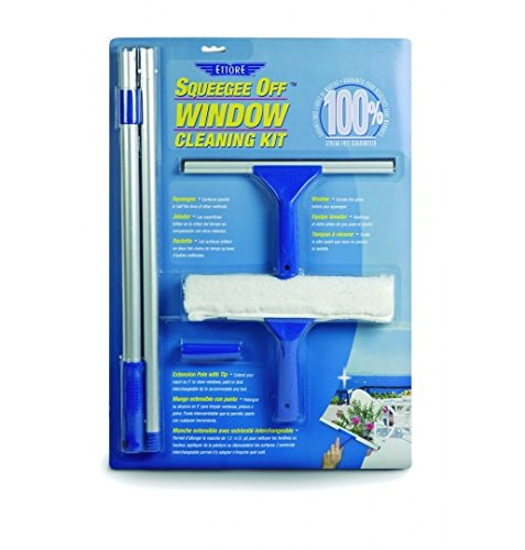 Ettore 17050 All-Purpose Window Cleaning Combo Kit Includes 12-Inch All-Purpose Squeegee, 10-Inch All-Purpose Microfiber Washer and 42-inch REA-C-H Extension Pole