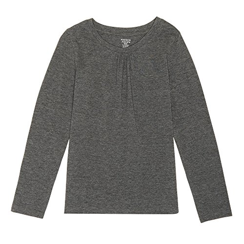 French Toast Little Girls' Long Sleeve Crew Neck Shirt, Charcoal Heather Gray, 4 by French Toast