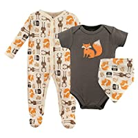 Hudson Baby Baby Sleep and Play, Bodysuit and Bandana Bib Set, 3 Piece, Woodl...