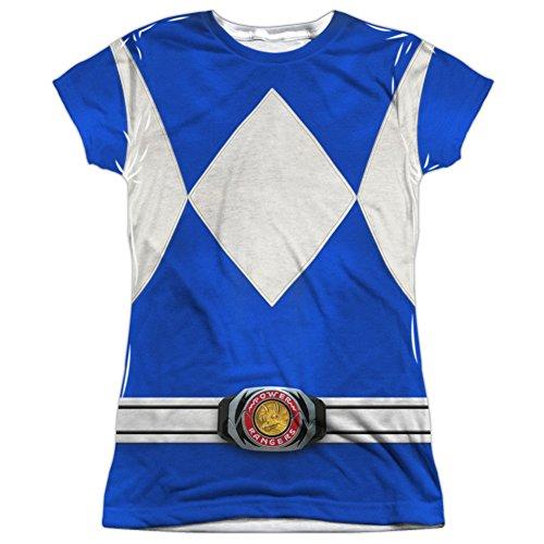 Juniors: Power Rangers- Blue Ranger Costume Tee Juniors (Slim) T-Shirt Size M