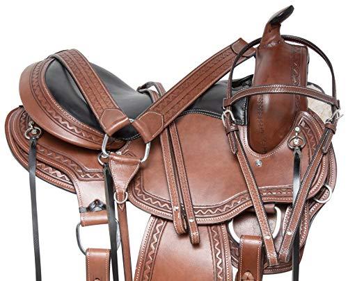 "Acerugs GAITED TN Walking Horse Western Saddle TACK Set Premium Leather Bridle REINS Breast Collar (Brown, 16"")"