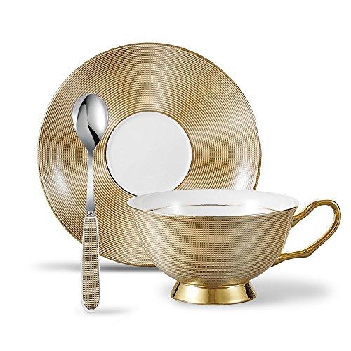 Panbado 3Pcs Bone China Tea Cup and Saucer Set with Spoon, 200 ml/6.8 oz, Golden Grid (Fine China 2 Bone)