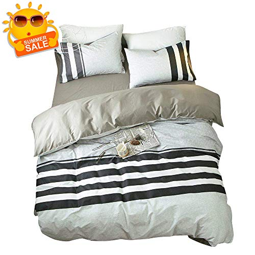 BuLuTu Reversible Black and White Horizontal Stripes Twin Bedding Collection Sets Grey with 4 Corner Ties Hypoallergenic Bedding Cover Sets for Kids Adults