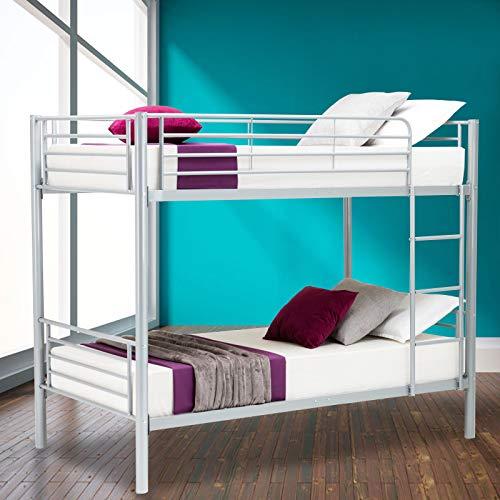 Canvoi Metal Twin Over Twin Bunk Beds Frame Ladder Kids Adult Children Bedroom Dorm