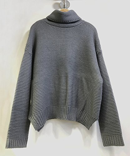 Col Haut Femme Longues Sweater Loose ASSKDAN Pull Manches Unie Tricot aW07Bd84