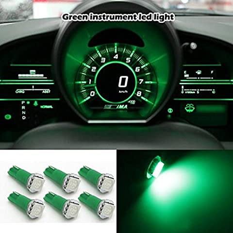 Partsam 6xT5 wedge 17 74 2721 37 Car SMD LED Instrument Cluster Gauge Light Bulb Green For Acura Nissan (Custom Instrument Cluster)