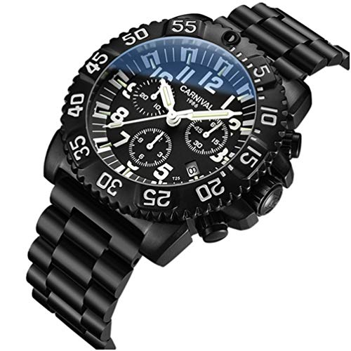 Men's Outdoor Military Tritium Super Bright Self Luminous Quartz Watch (A6-6 Hands Multifunction Stainless Steel White) ()