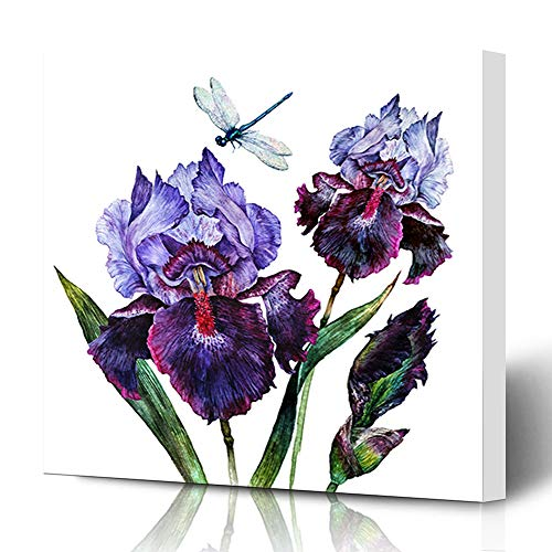- Ahawoso Canvas Prints Wall Art 12x12 Inches Flower Purple Drawing Watercolor Iris Bouquet Dragonfly Bloom Nature Vintage Blue Painting Artistic Garden Decor for Living Room Office Bedroom