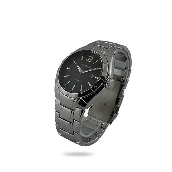 Reloj de pulsera para hombre CURREN Caja Metal Negro correa Black Steel Esfera fondo negro FECHA analógica: Amazon.es: Relojes
