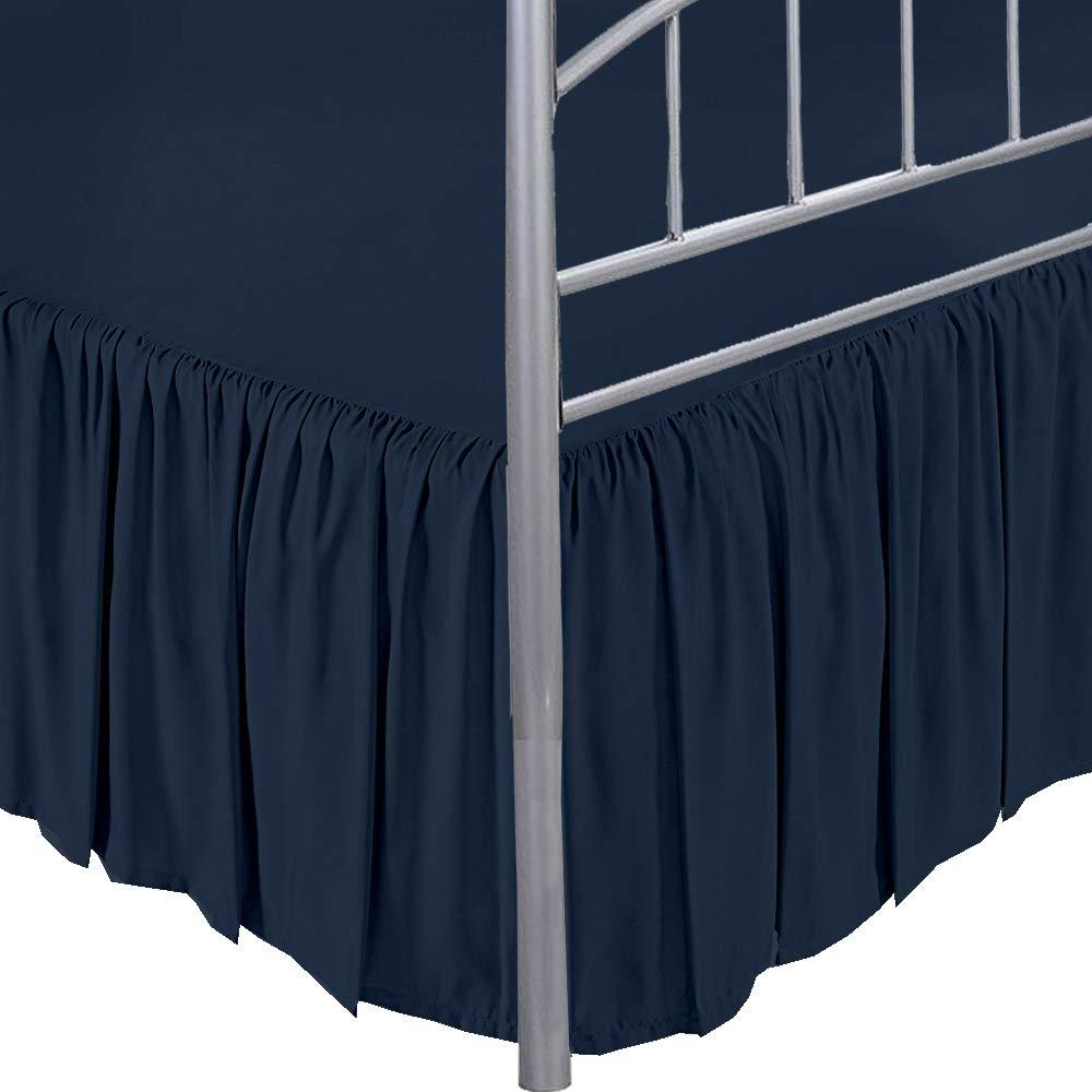 Extra Drop Length Multi Ruffle BedSkirt US Size Split Corner 1000 TC Navy Blue