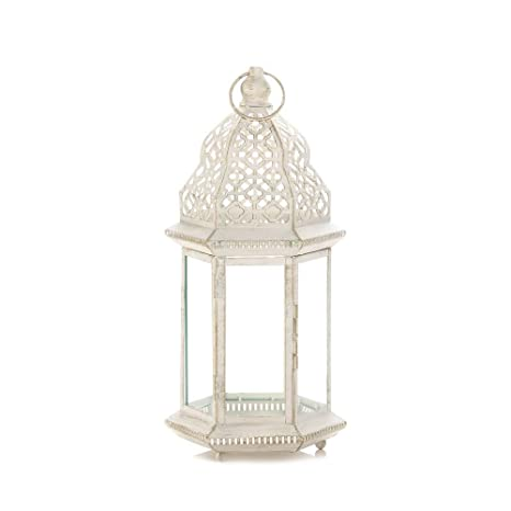 Image Unavailable. Image not available for. Color: Outdoor Patio Lanterns  ... - Amazon.com: Outdoor Patio Lanterns, Sublime Distressed White Metal