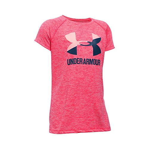 Under Armour Girls' Novelty Big Logo Short Sleeve T-Shirt,Gala/Blackout Navy, Youth Medium