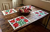 Set of 6 'Noche Buena' placemats made from Otomi fabric