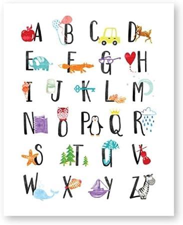 Hyfbh Alphabet Toile Affiche Nursery Mur Art Imprimer Drole Abc Alphabet Avec Animaux Photo Enfants Chambre Mur Art Decoration 60x80cm Avec Cadre Amazon Fr Cuisine Maison