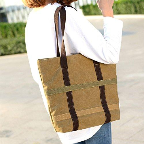 Frauen Jahrgang Leinwand Schulter Aktentasche Messenger Handtasche Arbeiten College Tasche ,Black-OneSize