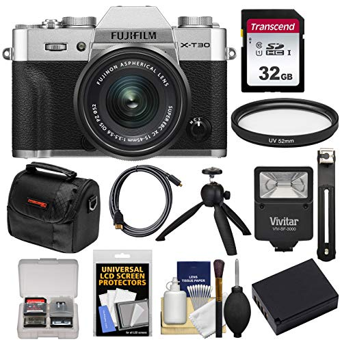 Fujifilm X-T30 Wi-Fi Digital Camera & 15-45mm XC OIS PZ Lens (Silver) with 32GB Card + Battery + Flash + Tripod + Case + Kit